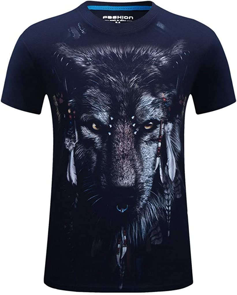 T-Shirts for Men MmNote Fierce Lion Screaming Print Moisture Wicking Performance Training Athletic Summer Short Sleeve