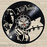 Neil Young Vinyl Wall Clock 12 in(30cm) Black Decor Modern Decorative Vinyl Record Wall Clock This Clock Is A Unique Gift To Your Friends And Family For Any Occasion Review