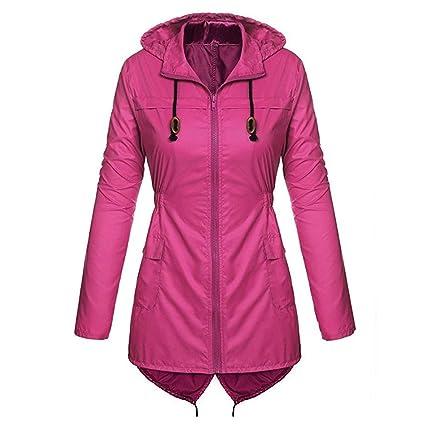 Fiaya Womens Lightweight Hooded Raincoat Windproof Waterproof Active Outdoor Rain Jacket Coat (M, Hot