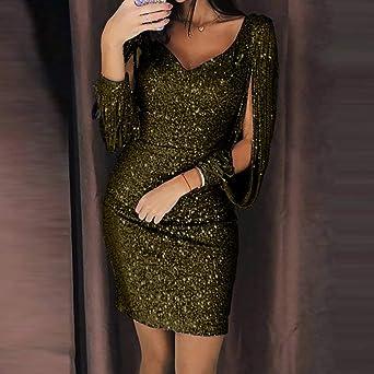 7fe79836ba Women Sequin V-Neck Stitching Shining Club Sheath Long Sleeved Mini Dress  Ladies Bodycon Cocktail Party Dress