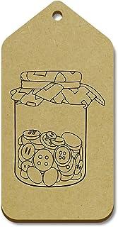 Azeeda 10 x Grand 'Pot de Boutons' etiquettes de Bagage / Cadeau en Bois (TG00013979)