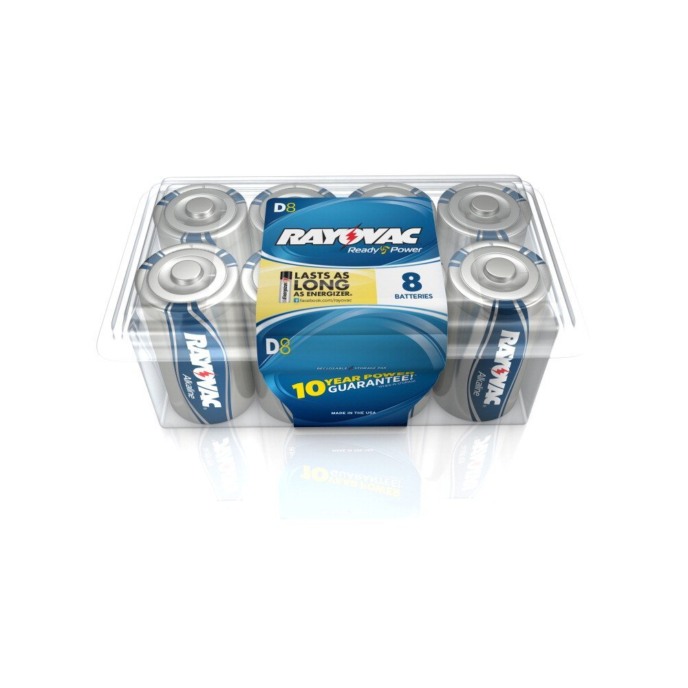 Rayovac Alkaline D Batteries, 813-8RVPF2, 8-Pack with Recloseable Lid
