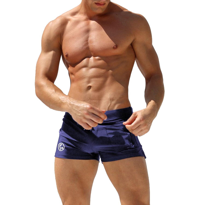 con taschino costume da bagno uomo boxer elastico e coulisse a vita bassa slim per