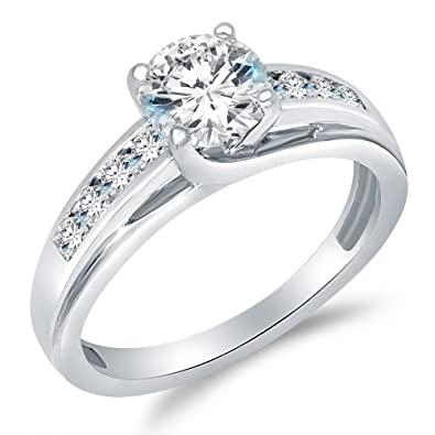c512b6c4373948 Size - 4 - Solid 925 Sterling Silver Solitaire Round CZ Cubic Zirconia  Engagement Ring 1.5