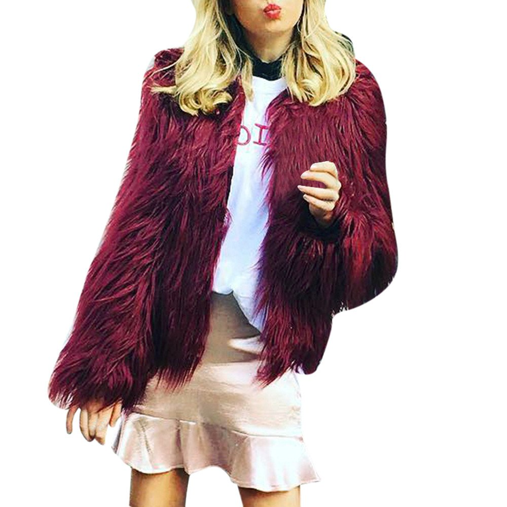 Gergeos Winter Faux Fur Fox Coat Womens Solid Parka Jacket Long Sleeve Outerwear(Wine Red,Large)