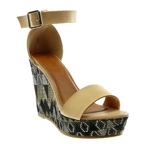 2b0366e00d2f3e Angkorly - Chaussure Mode Sandale Mule Plateforme lanière Cheville Femme  brodé Fantaisie lanière Talon compensé Plateforme