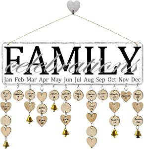 FamGift Gifts for Moms Dads Family Birthday Reminder Calendar Board DIY Birthday Tracker Plaque Wall Hanging Family Friends Classroom&Office Decorative