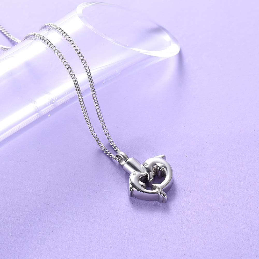 DIYjewelry Inc Cremation Jewelry for Ashes Dolphin Heart Urn Necklace for Ashes Stainless Steel Cremation Locket for Ashes Pendant
