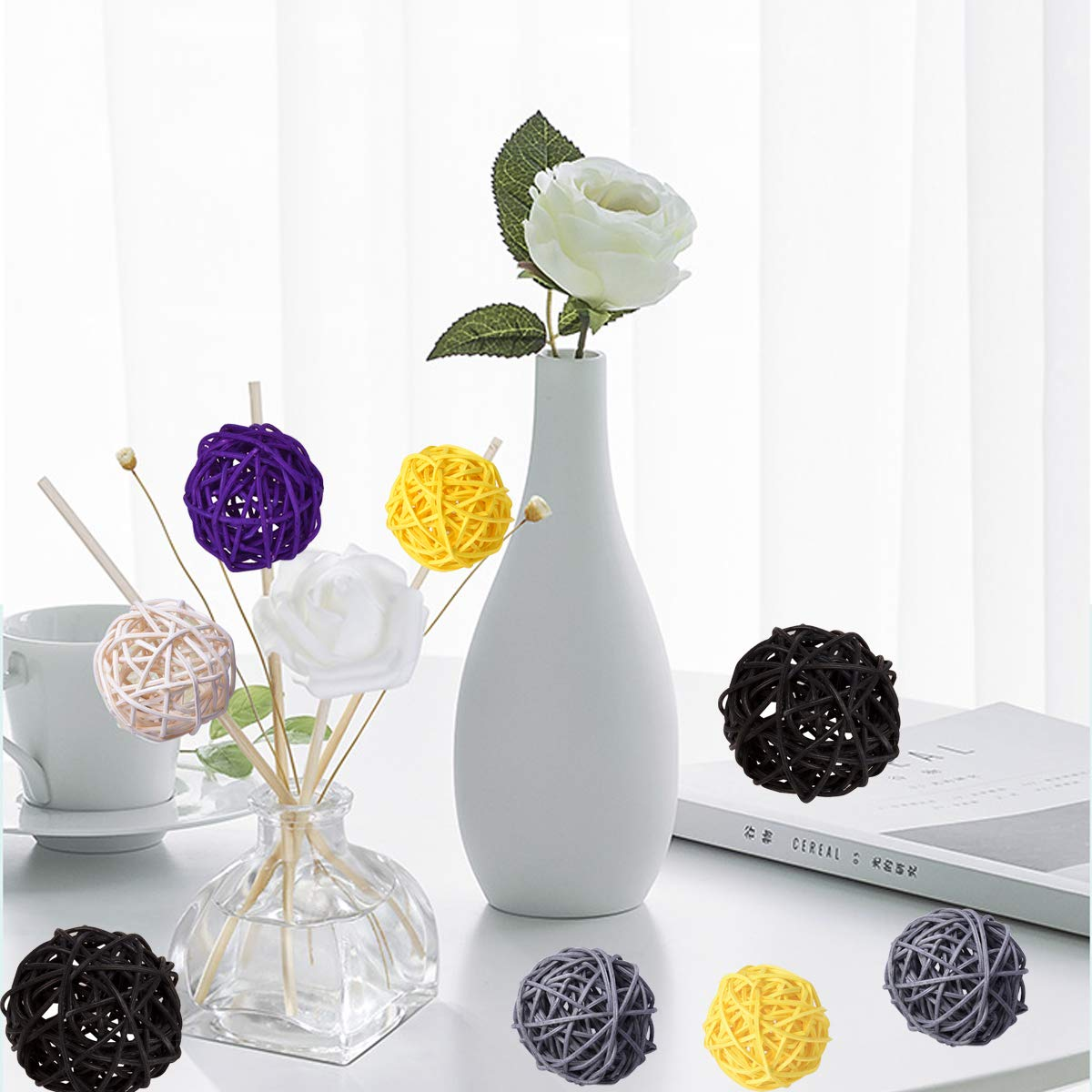 15pcs 2Wedding Table Decoration,Themed Party,Baby Shower 15, white-black-purple Aromatherapy Accessories,Orbs Vase Fillers Wicker Rattan Balls Decorative Orbs Vase Fillers for Craft Project