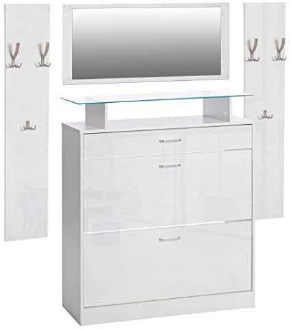 2 Wandpaneele Kleiderhaken Betonoptik Grau ts-ideen 3er Set Garderobe Spiegel