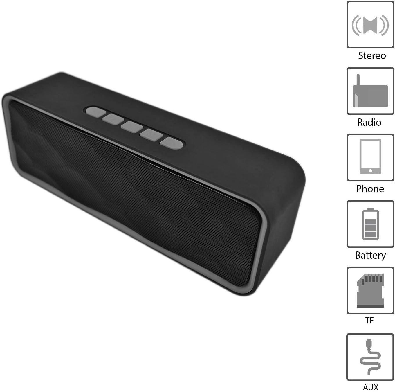 Altavoz portátil Bluetooth. Altavoz Bluetooth con Radio, USB y Ranura para Tarjeta TF. Altavoz inalámbrico Bluetooth pequeño estéreo. Altavoz portátil Potente para Disfrutar en Cualquier Lugar.