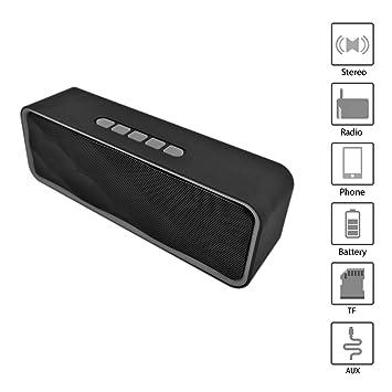 Altavoz portátil Bluetooth. Altavoz Bluetooth con Radio, USB y Ranura para Tarjeta TF. Altavoz inalámbrico Bluetooth pequeño estéreo. Altavoz portátil ...