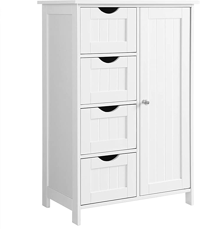VASAGLE Bathroom Storage Cabinet, Floor with Adjustable Shelf and Drawers, White best bathroom storage solutions