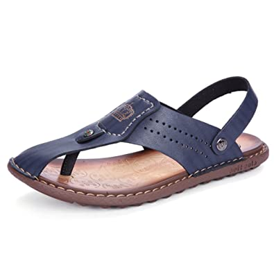 399121079f84 Image Unavailable. Image not available for. Color  MR.JIM Mens Microfiber  Leather Universal Sandals Toe ...