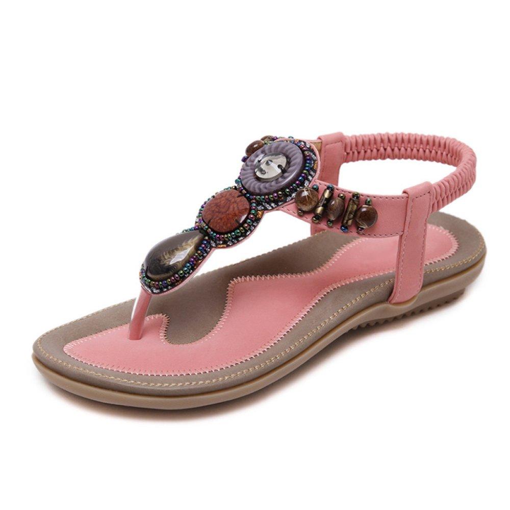 PDFGO Frauen Bohemian Style Sandalen Sommer Strass Bead Folk Flip-Flops Clip Toe T-Strap Knöchelriemen Reise Strand Schuhe  EU41/UK7|Pink
