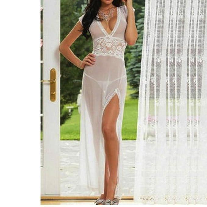 JiaMeng Lencería sexy Mujeres de Moda Halter Falda Larga V-Neckline Tentación Ropa Interior Sexy camisón (tamaño Libre, Blanco): Amazon.es: Ropa y ...