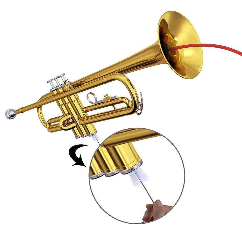 Zhongjiany Kit de limpieza de trompeta Boquilla Boquilla cepillo de v/álvula cepillo flexible con pa/ño de limpieza juego de 4