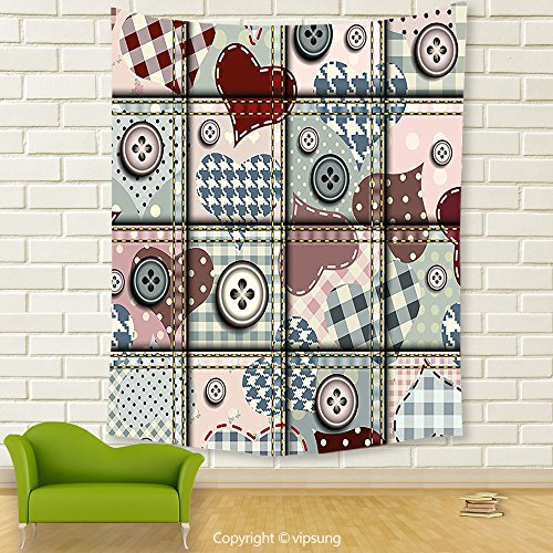 Vipsung House Decor Tapestry_Farmhouse Decor Cute Clip Art Print Of Heart Figure And Staple Check Patterns Romantic Decor Pink Red_Wall Hanging For Bedroom Living Room (Halloween Parade Clipart)