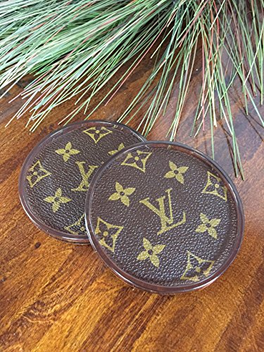 Handmade drink coasters covered with repurposed Louis Vuitton Canvas- (set of 2) -