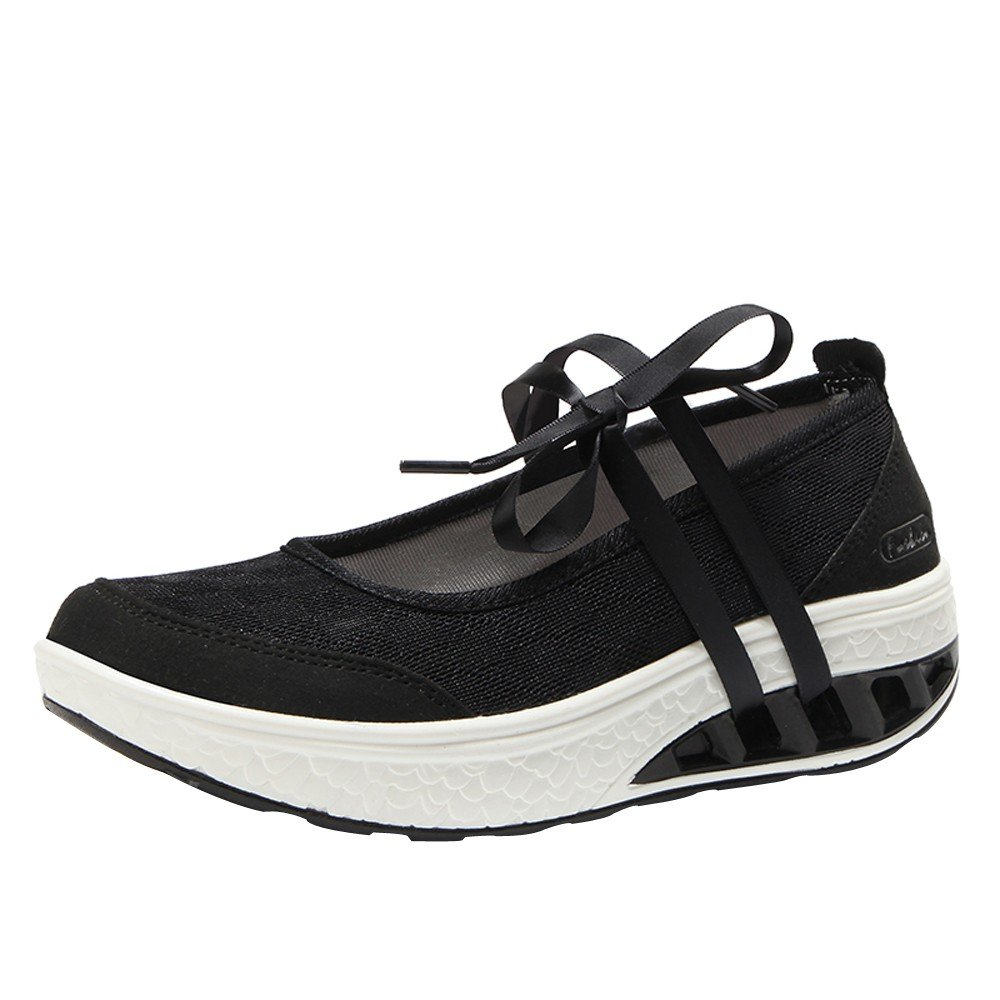 Clearance Sale Sneakers  For Women,Farjing Fashion Women Air Cushion Platform Shoes Shake Shoes Slip Sport Leisure Sneakers (US:5,Black)