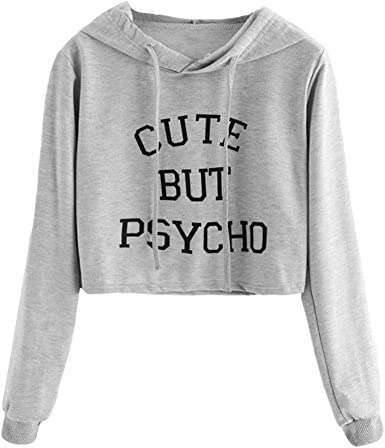 XUANOU Ladies Cute But Psycho Letter Hooded Slim Sweatshirt Women Long Sleeve Slogan Print Hoodie Blouse Tumblr Oversize Top