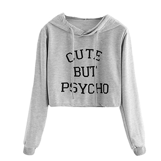 f64f0a5aefd XUANOU Ladies Cute But Psycho Letter Hooded Slim Sweatshirt Women Long  Sleeve Slogan Print Hoodie Blouse Tumblr Oversize Top at Amazon Women s  Clothing ...