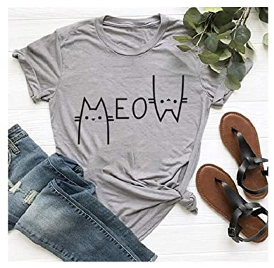 05bc3ce0e Amazon.com: Tsun Women Cat Print Tops Meow Letter Print T-Shirt Round Neck  Short Sleeve Cute Tee: Clothing