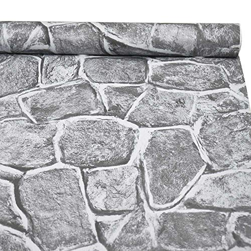 3D Stone Wallpaper, H2MTOOL Removable Self Adhesive Rock Wallpaper Gray (17.7