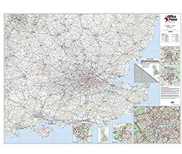 OfficeForce Large Laminated Wall Road Map Of South East England