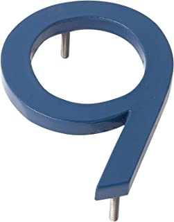"product image for Montague Metal Products MHN-8-F-SB1-9 Solid Brushed Aluminum Modern Floating Address House Numbers, 8"", Powder Coated Sea Blue"