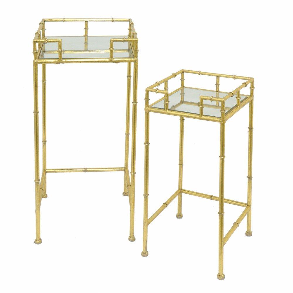 BENZARA Metal Mirrored Table Set of 2 - Benzara / BM122448 /