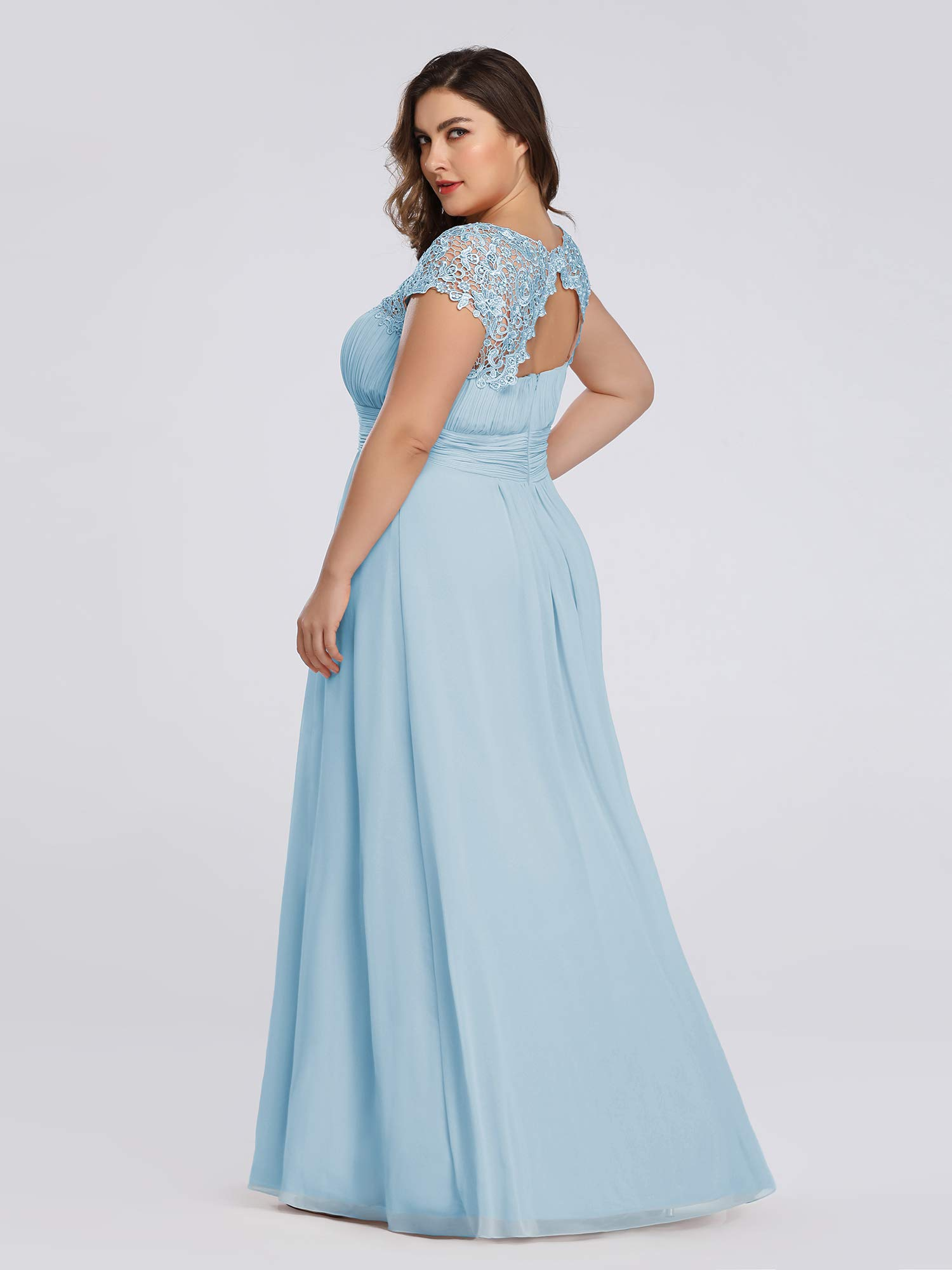 Ever-Pretty Womens A-Line Lace Plus Size Mother of The Groom Dresses for  Women Blue US 18