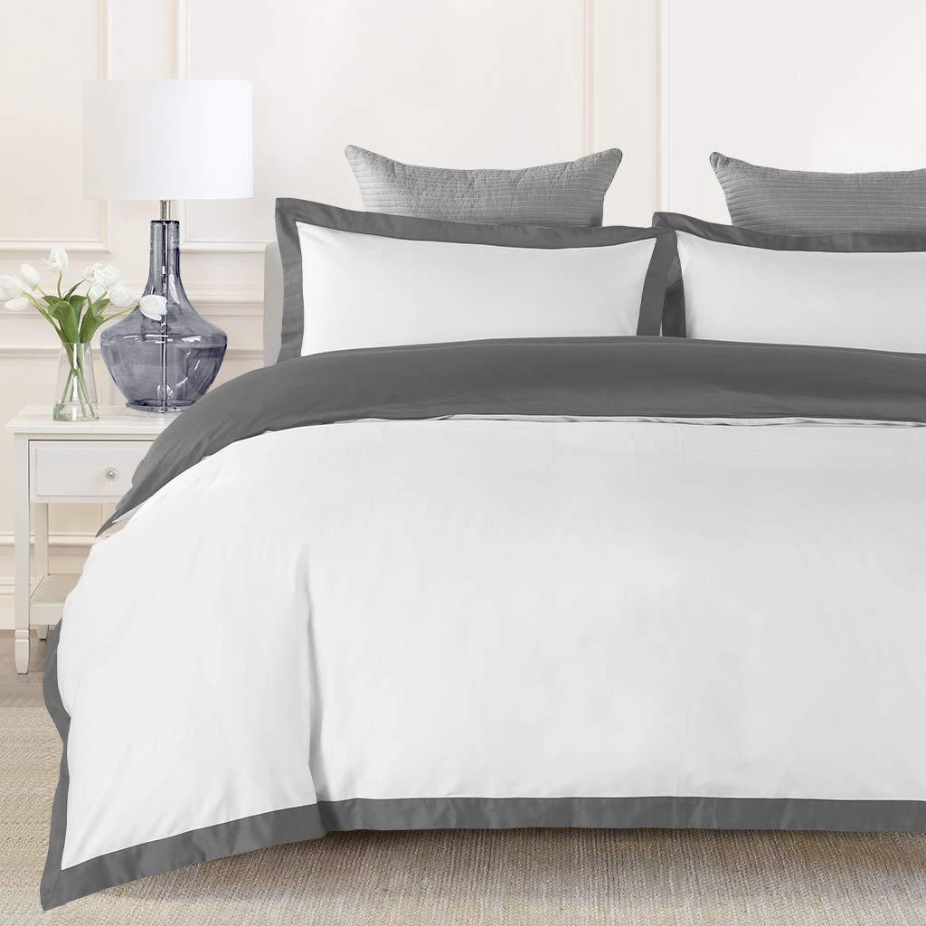JOHNPEY Duvet Cover King - 1000TC Egyptian Cotton Comforter Cover Set/Bedding Set(1 Duvet Cover + 2 Pillow Shams)- Button Closure(Gray/White)