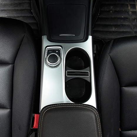 Dibiao Car Center Console Supporto per tazza di acqua per Trim Mercedes Classe A//CLA//GLA 2013-2017 Accessori interni per auto Portabicchieri Copertura per pannello Cornice decorativa Argento