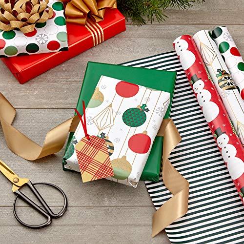 Hallmark Reversible Christmas Wrapping Paper (3 Rolls: 120 sq. ft. ttl) Retro Ornaments, Stripes, Polka Dots, Snowmen…