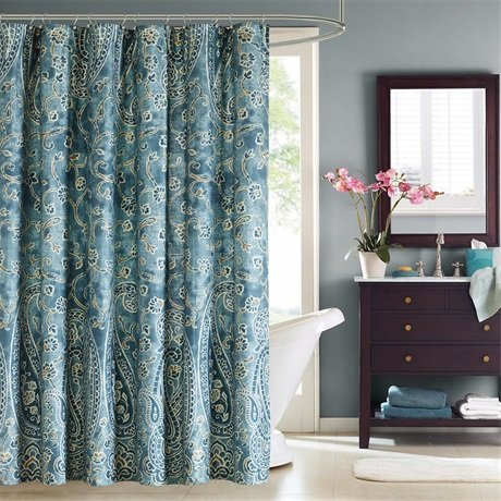 "Harbor House HH70-1258 Belcourt 200TC Cotton Shower Curtain 72x72"" Blue,72x72"""