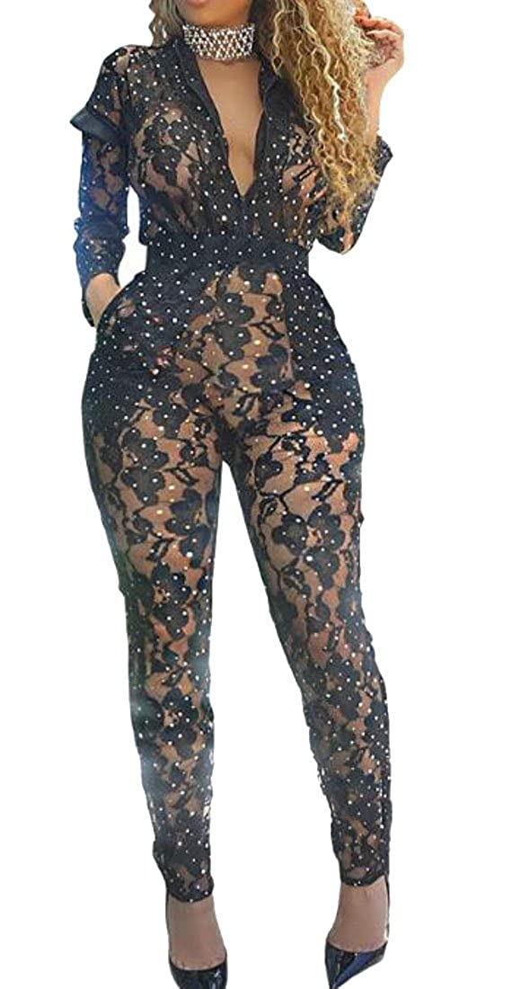 86156c956ab4 Amazon.com  UUYUK-Women Sexy Lace See Through Mesh Long Pants Bodycon One  Piece Jumpsuit Club  Clothing