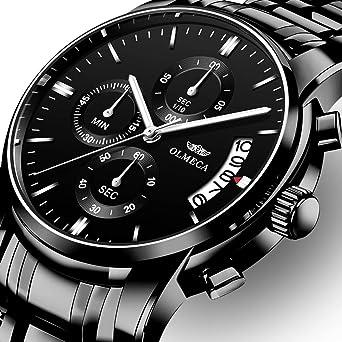 OLMECA Mens Watch Luxury Sports Military Wristwatches Chronograph Calendar Date Quartz Waterproof Watches for Women Relojes