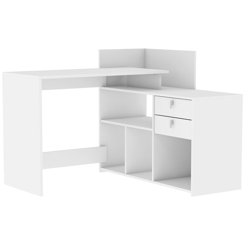 Demeyere Vista Eckschreibtisch 2 Schubladen, Spanplatte, Perle Weiß, 121 x 107.6 x 90.1 cm