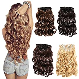 7Pcs 16 Clips 20-24 Inch Thick Double Weft Full Head Clip in Hair Extensions Curly Straight Wavy Hairpiece 8 colors