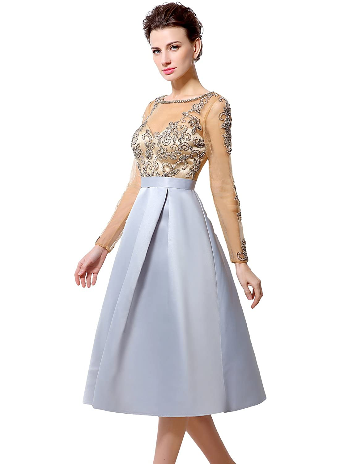 Favebridal Women's Long Sleeve Elegant Prom Dress with Appliques LX015