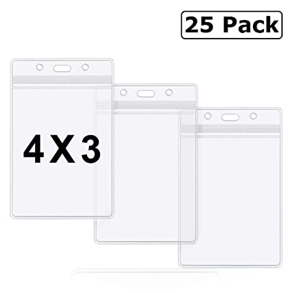 1003b90783f0 Badge Holder 4x3 Large Vertical Clear Name Tag Badge ID Holders Waterproof  by ZHEGUI (25 Pack, Large Vertical 4x3)