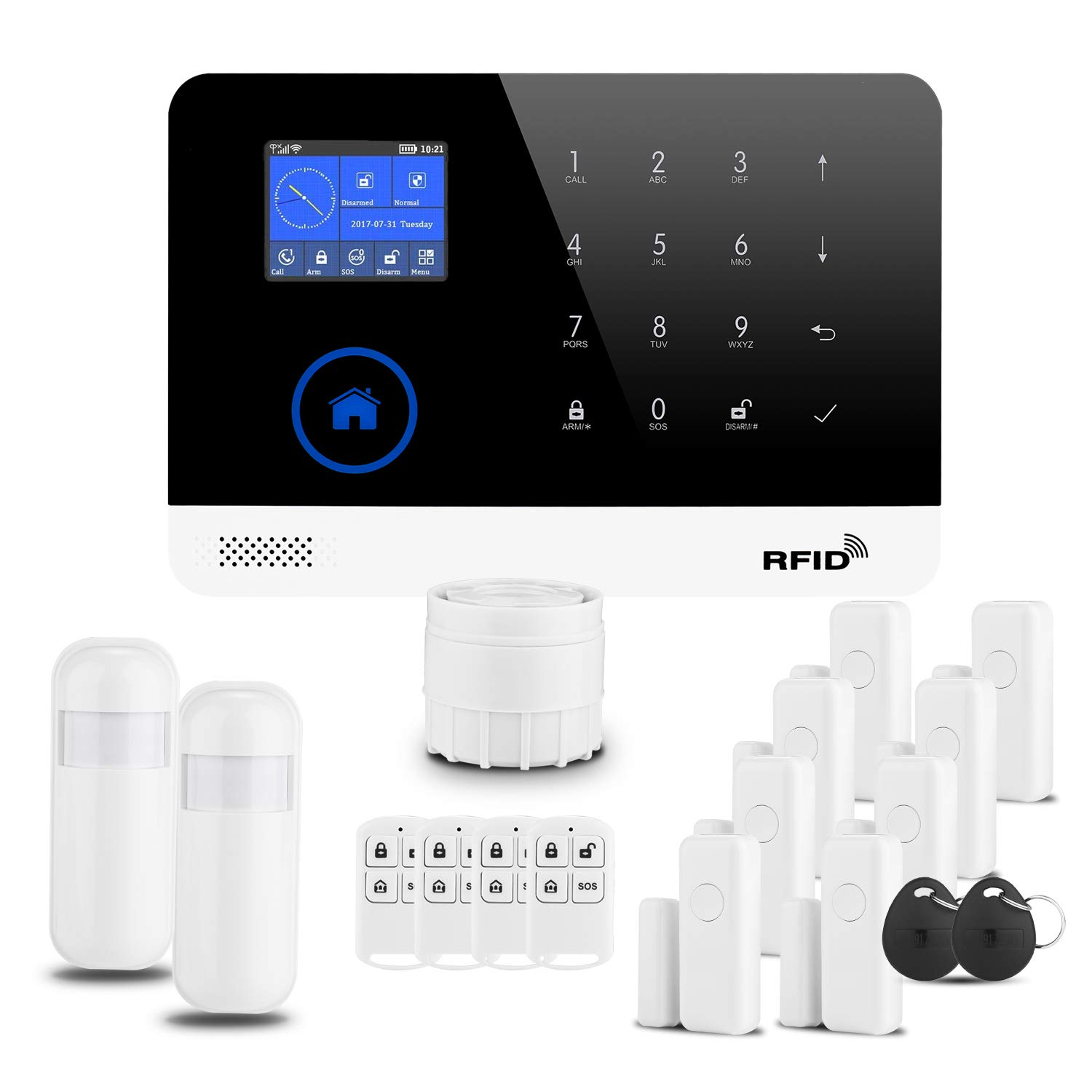 D1D9 Burglar Alarm System 3G WiFi RFID DIY Wireless GSM for House Security