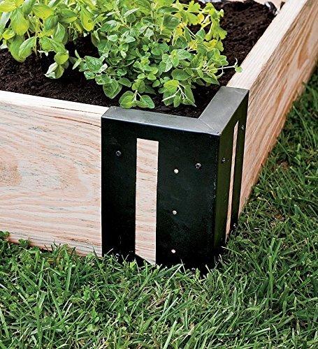 DIY Raised Garden Bed Corner Brackets Powder Coated Galvanized Solid Steel Black 6'' L x 6'' W x 10½''H Set of 4