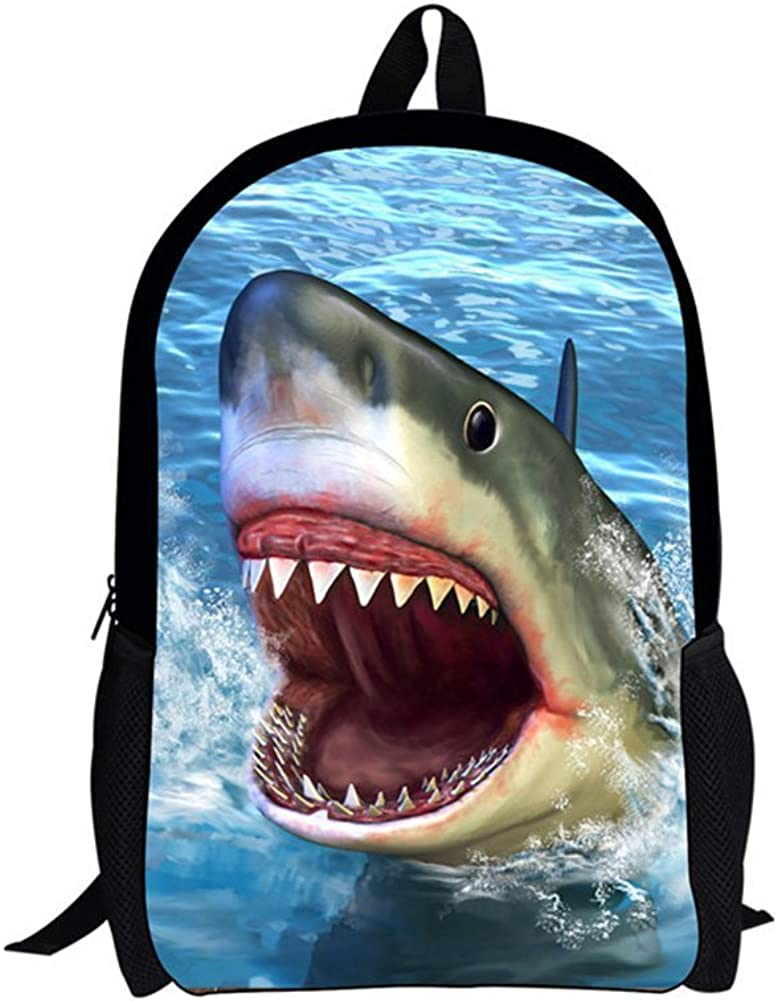 Xinind Cool 3D Animals Children School Book Bag Shark Printing Kids Backpacks (shark)
