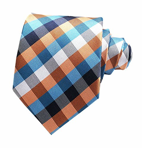 (Secdtie Men's Slim Check Stripe Silk Ties Jacquard Formal Plaid Necktie for Gift (One Size, Blue Orange))