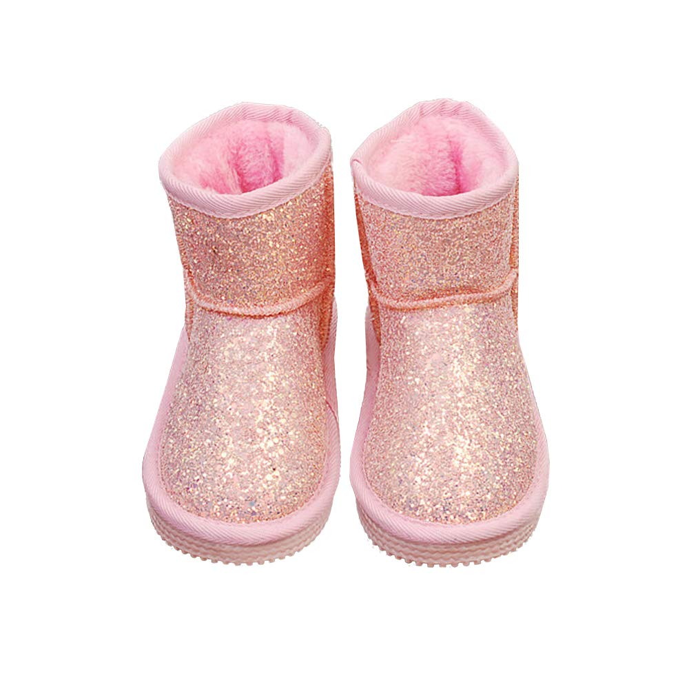 Yu Li Boys Girls Warm Winter Sequin Waterpoof Outdoor Snow Boots