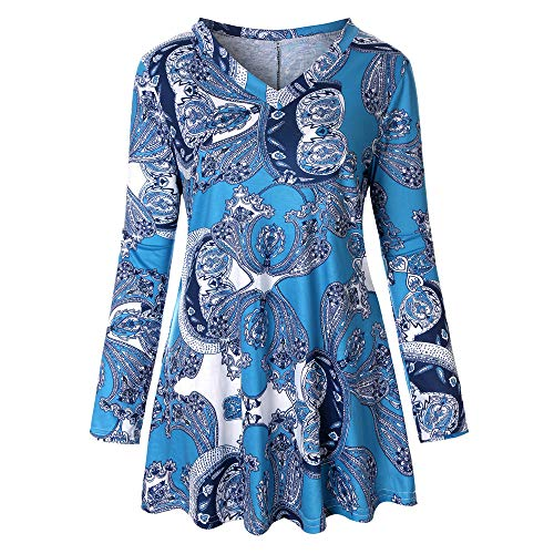 Xinantime Women Loose T Shirt Ladies Print O-Neck Button Pullover Tops Plus Size Long Sleeve Fluffy Dress Blouse Sky -
