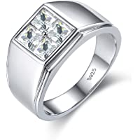 925 Sterling Silver Men Rings 18K White Gold Plated Wedding Jewelry For Bridegroom