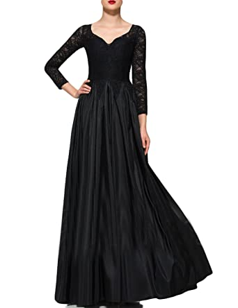 JoJoBridal Womens A Line Long Formal Evening Prom Dresses Sleeves Black Size 2